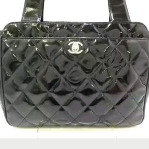 Auth Chanel Black Paten Leather Matelasse Bag